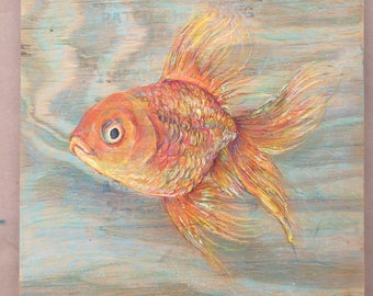 Goldfish Painting/Pastel on Wood