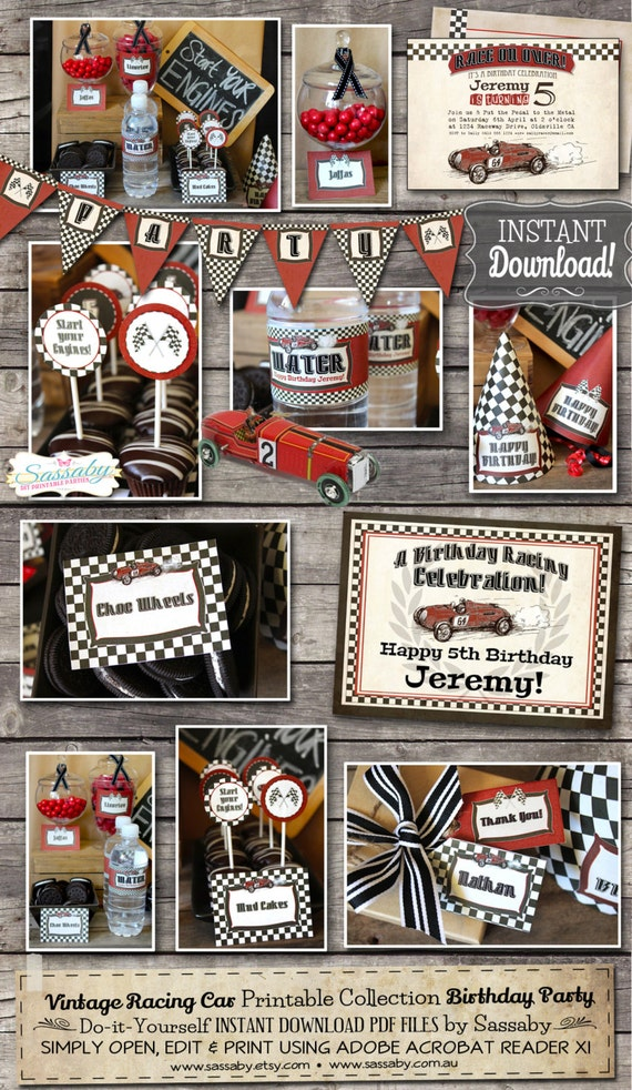Vintage Racing Car Party Collection INSTANT DOWNLOAD