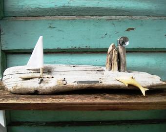 Driftwood Art,Little Houses,Beach Decor,Drift Wood Decor,Ocean Art,Nautical Decor,Beach Seascape,Nautical Seascape,Dock Scene Coastal Art