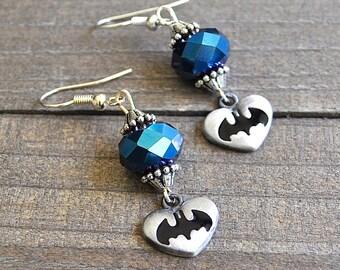 Batman Earrings Superhero Style Heart Silver Blue Batman Crystal Sterling Silver Earwires Gotham Fans Megacon Comic Book Lover Earrings