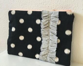 Polka Dot Canvas Zipper Pouch/ Makeup Bag