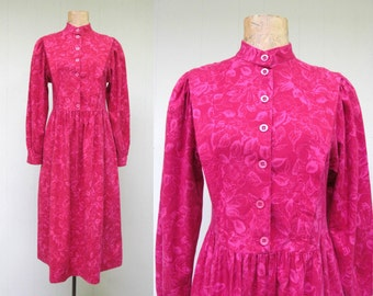 Vintage 1980s Dress / 80s Laura Ashley Rose Pink Brushed Cotton Floral Print Dress / Small 34 Bust