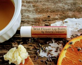 Wild Flower Organic Lip Balm - 100% Natural Moisturizing, Luscious Lip Balm with Organic Essential Oils of Lavender, Ylang Ylang, and Orange