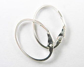 3 pairs of 925 Sterling Silver Oval Leverback Ear Wires 12x17 mm. :th1096