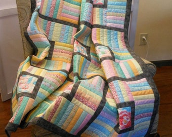 Quilt Lap Size Candy Stripe Warm Pastels and Gray