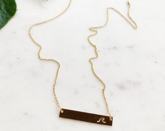 WAVE Hand Stamped 14k Gold Filled or Sterling Silver Horizontal Bar Necklace With Chain