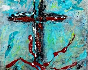 Sangre de Cristo. Original 5x5 contemporary painting by Charlie Stone. Santa Fe. Southwest. Spanish art. Ready to display. Free shipping.