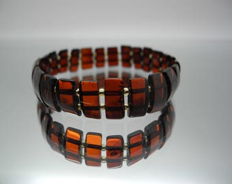 Natural Baltic amber bracelet on silicone