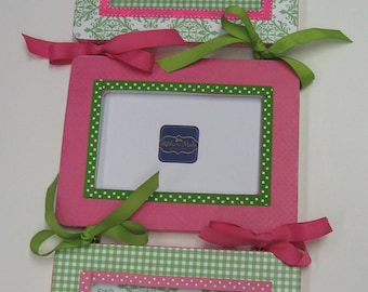 Triplet Frames - Damask and Solid to match decor