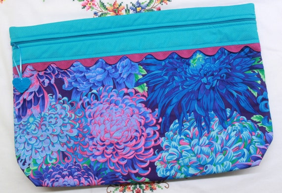 LOTS2LUV Japanese Chrysanthemum  Cross Stitch Embroidery Project Bag