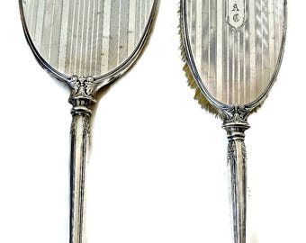Antique Webster Sterling Silver Vanity Set Art Deco Hair Brush and Mirror Monogrammed 1910 Era