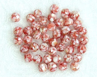 8mm Red Shell Beads Red Mosaic Shell Beads Mother Of Pearl Beads Red MOP Beads Sea Shell Beads