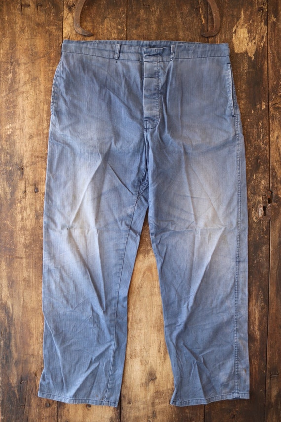 "Vintage french bleu de travail blue faded workwear trousers pants hbt herringbone twill buckle back 38"" x 30"" button fly"