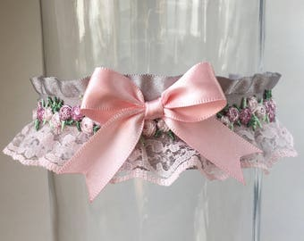 Pink and Gray, Lace and Floral Victorian Collar, Kitten Play Collar, Choker, BDSM Collar, ddlg Collar, Lolita Collar