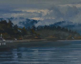 Pacific Northwest - Washington - Orcas Island - Plein Air - Oil Painting - Mist - Fog - Landscape - Seascape - Island - Ocean - Sea - Water