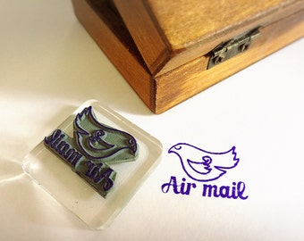 Air Mail Bird Stamp ~ par avion rubber stamp, pen pal, snail mail, post office, flying bird special delivery, love letter, envelope decor