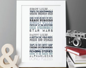 A few of their favourite things Personalised Print - framed or unframed