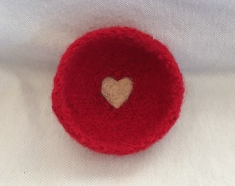 Red Felted Ring Bowl With Heart