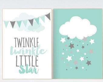 Twinkle Twinkle Little Star, Mint nursery decor, gender neutral baby, new baby gift, mint gray, mint gray nursery, baby room decor kids room