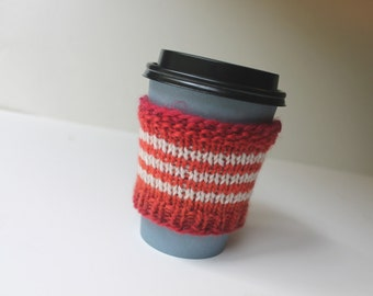Wool Beverage Sleeve, Striped Coffee Cozy, Wool Coffee Sleeve, Eco Cup Cozy, Tea Cup Cozy, Wool Cup Sleeve, Gift for Her, Stocking Stuffer