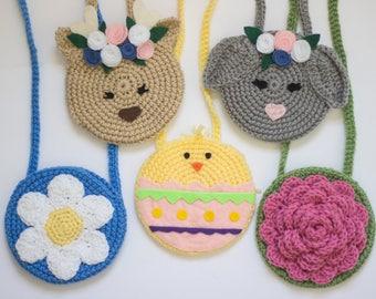 Easter purses/ Bunny purse/ Deer purse/ Chick purse/ flower purse/ Crocheted purse/ Girls purse/ Spring purse/ Girls easter gift/