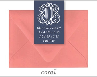 Coral | 10 Blank Euro Envelopes | A7 • A2 • RSVP