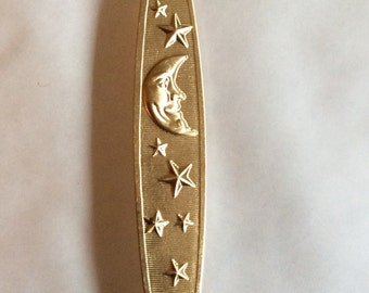 Crescent moon with stars long brooch pin from vintage raw brass finding