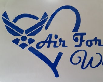 Air Force Wife Heart Decal--free shipping