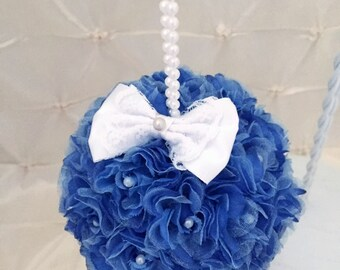 "Navy Kissing Ball Wedding Pomander Flower Girl Flower Ball Pew Free Hair Pin 5"" Bridesmaid Rose Kissing Ball White Satin Bow READY TO SHIP"