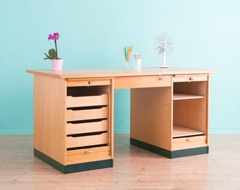 50s desk, Shutters cabinet Vintage (412007)