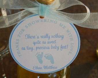 """40 - Baby Shower Custom 2"""" Baby Feet Favor Tags - for Mini Wine and Champagne Bottles - Shower Favors - Thank You for Showering with Poem"""