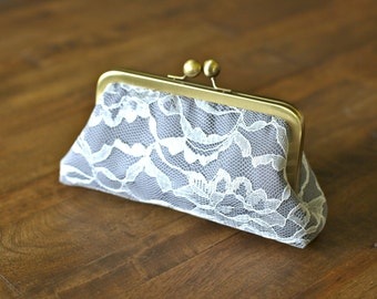 SALE - Ivory Lace Clutches with Charcoal Gray