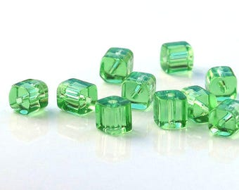 Light Green Glass Cube Beads 4x4mm Full Strand 80 beads