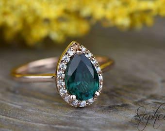 Dainty Green Emerald Pear Engagement Ring in 14k Rose Gold, 9x6mm Pear Cut, May Birthstone Ring,Wedding Bridal,Pear Halo Ring by Sapheena