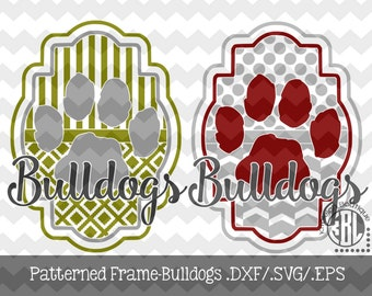 Patterned Bulldogs Frame design INSTANT DOWNLOAD in dxf/svg/eps for use with programs such as Silhouette Studio and Cricut Design Space