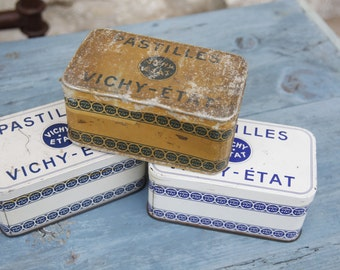 French Vintage Vichy Tins/Industrial decor/1950s Collectible Vintage Vichy/Vintage Haberdashery Tin/French Vintage Candy Tin
