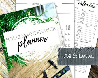 HOME MAINTENANCE PLANNER - Printable planner - Instant Download - Home Management Binder - Home File - 36 page pdf in A4 and Letter sizes