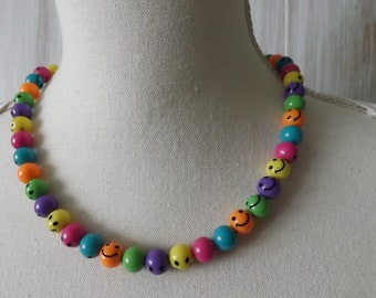 Smiley necklace, smiles necklace, smiley jewellery, colourful necklace, bright and cheerful necklace, acrylic necklace