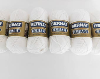 "Bernat Berella ""4"" White - 6 Skeins Discontinued Yarn, Same Dye Lot, Destash"
