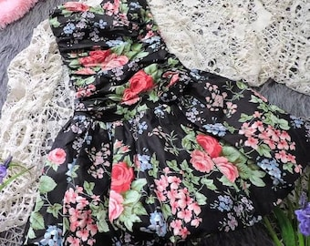 Black floral 80s dress, vintage 80s dress, size small xsmall