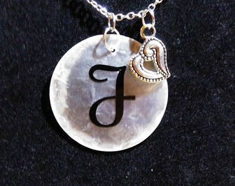 Personalized Shell necklace with heart charm #3
