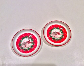 Two Christmas goose vintage porcelain snack plates, made in Japan