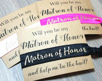 Will You Be My Matron of Honor and Help Me Tie The Knot Hair Tie Favors | Matron of Honor Hair Ties | Matron of Honor Proposal