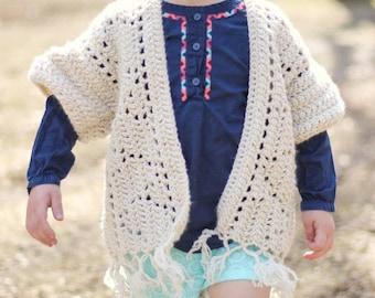 Boho Fringe Kimono • Toddler Kimono •Country Toddler Cardigan • Hippie Baby • Baby Kimono • Toddler Cardigan • Crocheted Kimono • Summer
