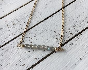 Mini labradorite gemstone  bar necklace
