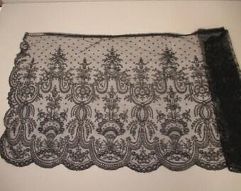 Antique Victorian Black Chantilly Lace Bonnet veil for Mourning
