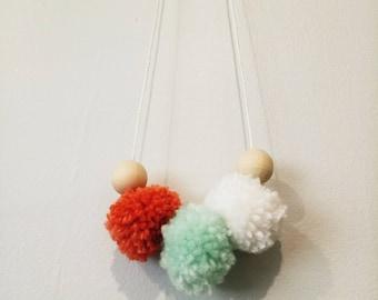 Pastel Pom Pom Necklace