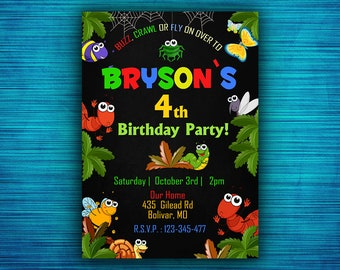 Bugs Invitations-Insects Invitations-Insect Party Invitation-Bugs Picture Invitation-Crawlers Invitation- Digital File