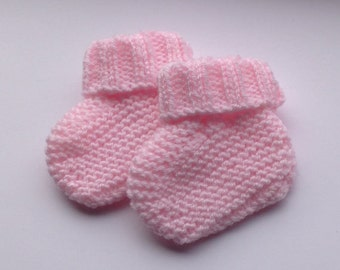 Hand Knitted Preemie Booties in Soft Pink Acrylic