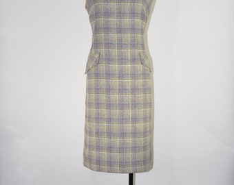 60s lilac plaid dress / scottish tartan dress / sleeveless tweed dress / 1960s wool sarafan